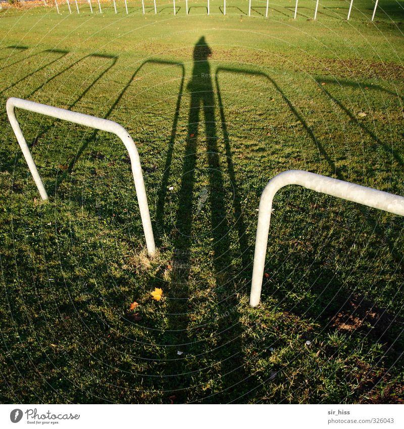 Mut zur Lücke Mensch 1 Wiese Metall beobachten braun grün schwarz bedrohlich Todesangst Überwachung Schattenseite Metallbügel Fotograf Beobachter Spitzel
