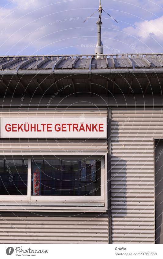 Getränkekiosk Haus Gebäude Kiosk verkaufsstand Schild Schriftzug Menschenleer hochkant Hinweisschild Leuchtreklame Tageslicht Leere Büdchen Angebot