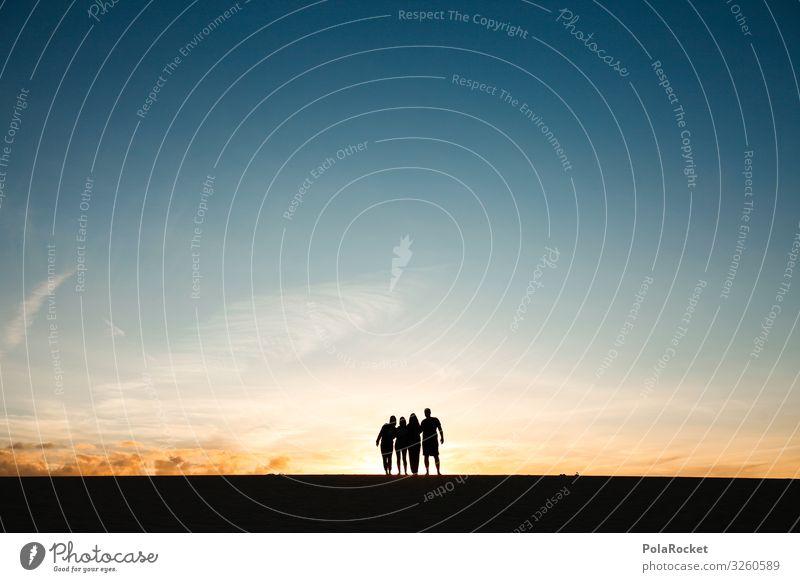 #A0# together Kunst ästhetisch Horizont Freundschaft Silhouette Sonnenuntergang Abenteuer 4 graphisch Farbfoto Gedeckte Farben Außenaufnahme Experiment
