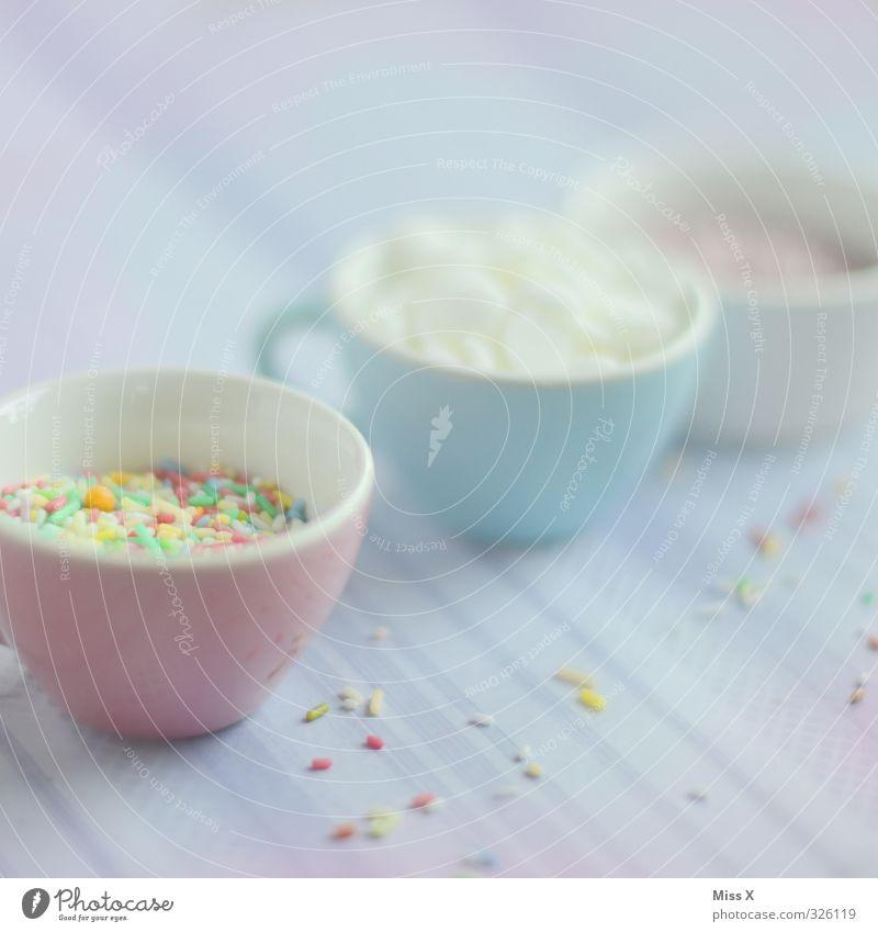 Zuckerdeko Lebensmittel Süßwaren Ernährung Geschirr Tasse lecker süß Zuckerstreusel Dekoration & Verzierung Streusel Kuchenverzierung Zutaten Farbfoto