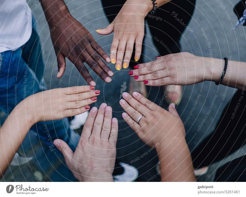 Für Vielfalt und Respekt! Hand einzigartig positiv mehrfarbig Farbe Identität Kultur Leben Lebensfreude Teamwork Vielfältig Mensch Toleranz Demokratie