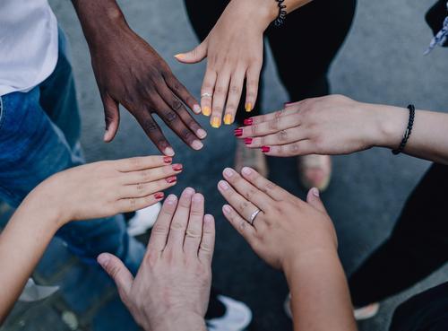 Für Vielfalt und Respekt! Mensch Farbe Hand Leben Zusammensein Kultur Lebensfreude einzigartig Hoffnung Teamwork positiv Identität Vielfältig Demokratie