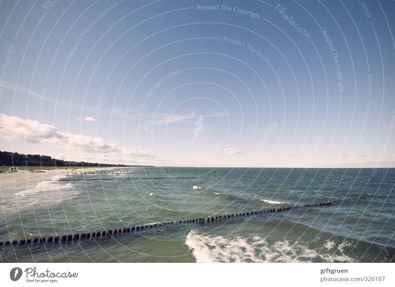 blue Umwelt Natur Landschaft Urelemente Sand Wasser Himmel Horizont Schönes Wetter Wellen Küste Strand Ostsee Meer Lebensfreude Uferbefestigung Buhne Wellengang