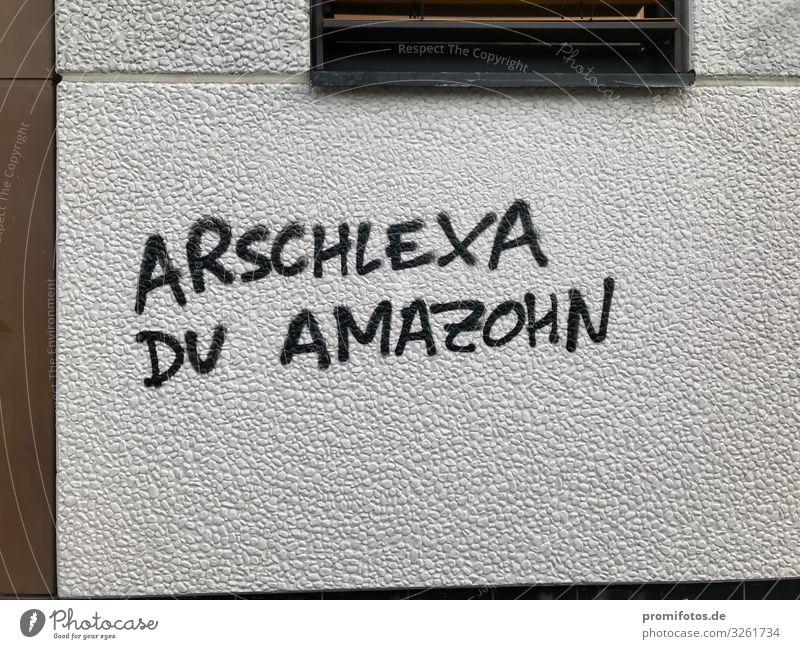 Graffit an Wand: Arschlexa du Amazohn weiß schwarz Graffiti Liebe Gefühle braun Schriftzeichen gefährlich Beton Zeichen Neugier Schutz Sicherheit schreiben