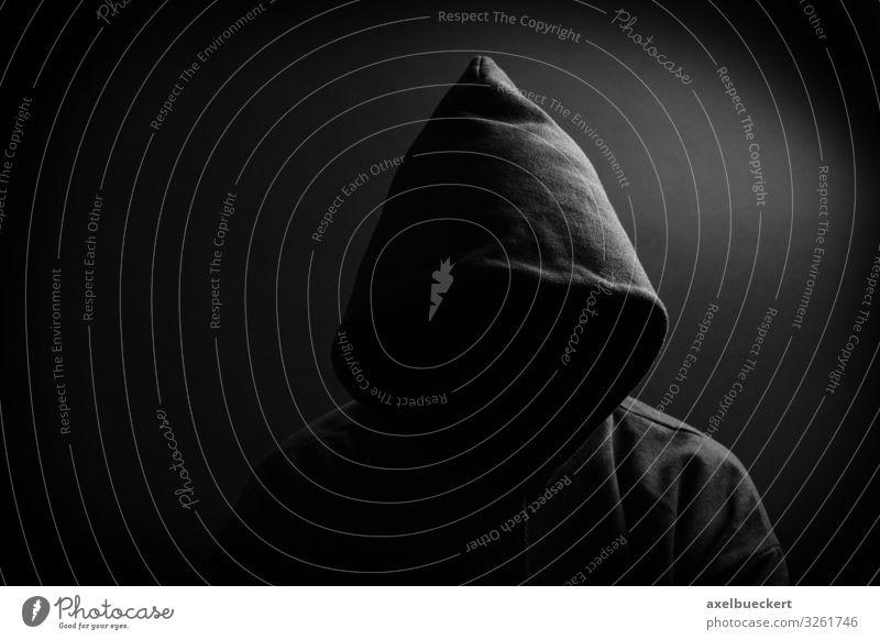 finstere Gestalt - Kapuze ohne Gesicht Frau Mensch Mann dunkel schwarz Erwachsene außergewöhnlich maskulin bedrohlich Identität Pullover anonym Kriminalität