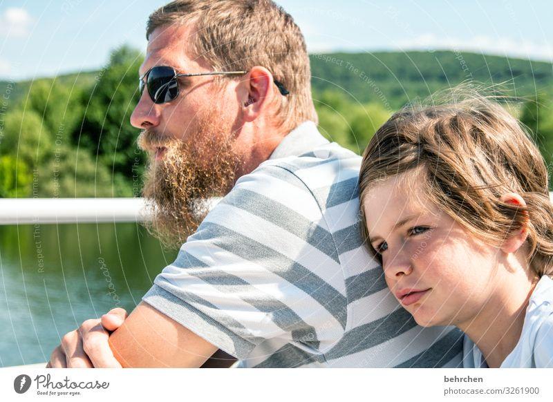 weitsichtig | gemeinsam in die gleiche richtung Kind Junge Mann Erwachsene Eltern Vater Familie & Verwandtschaft Kindheit Körper Haut Kopf Haare & Frisuren