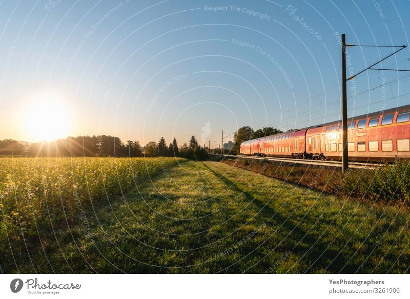 Personenzug und Rapsfeld. Frühlingslandschaft bei Sonnenaufgang Ferien & Urlaub & Reisen Umwelt Natur Sonnenuntergang Sommer Verkehr
