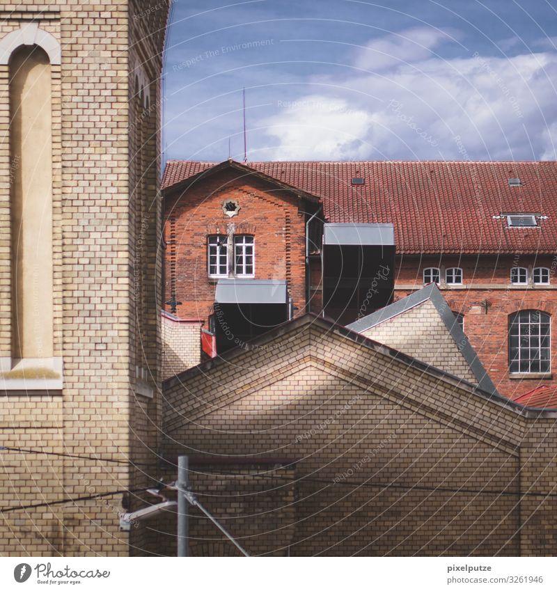 Eckstein Eckstein Fabrik Unternehmen Menschenleer Industrieanlage Bauwerk Gebäude Architektur Mauer Wand Fassade Backstein retro Fenster Lichtstrahl Farbfoto