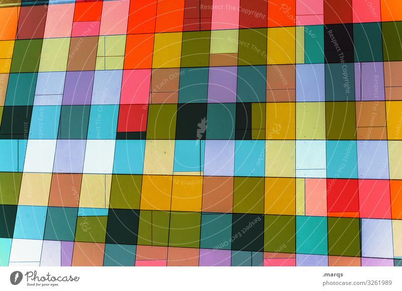 Fassade bunt trendy Stil Design abstrakt Hintergrundbild modern mehrfarbig Muster Grafik u. Illustration außergewöhnlich einzigartig Farbe Geometrie Ordnung