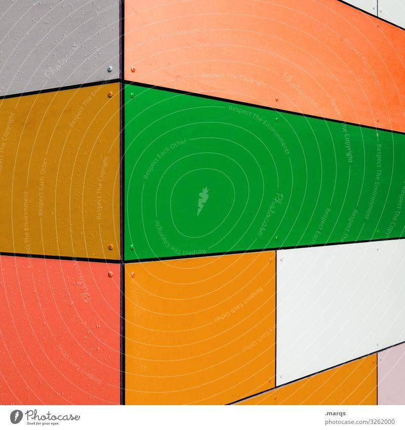 Fassade abstrakt Stil Design trendy modern Hintergrundbild Grafik u. Illustration eckig mehrfarbig Ordnung Muster Strukturen & Formen Geometrie bunt grün orange