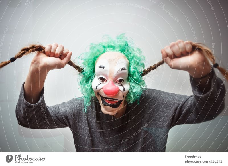ohrwurm Mensch Frau Jugendliche Junge Frau Erwachsene Traurigkeit feminin lustig Haare & Frisuren Feste & Feiern Party Freizeit & Hobby verrückt gruselig Maske Locken