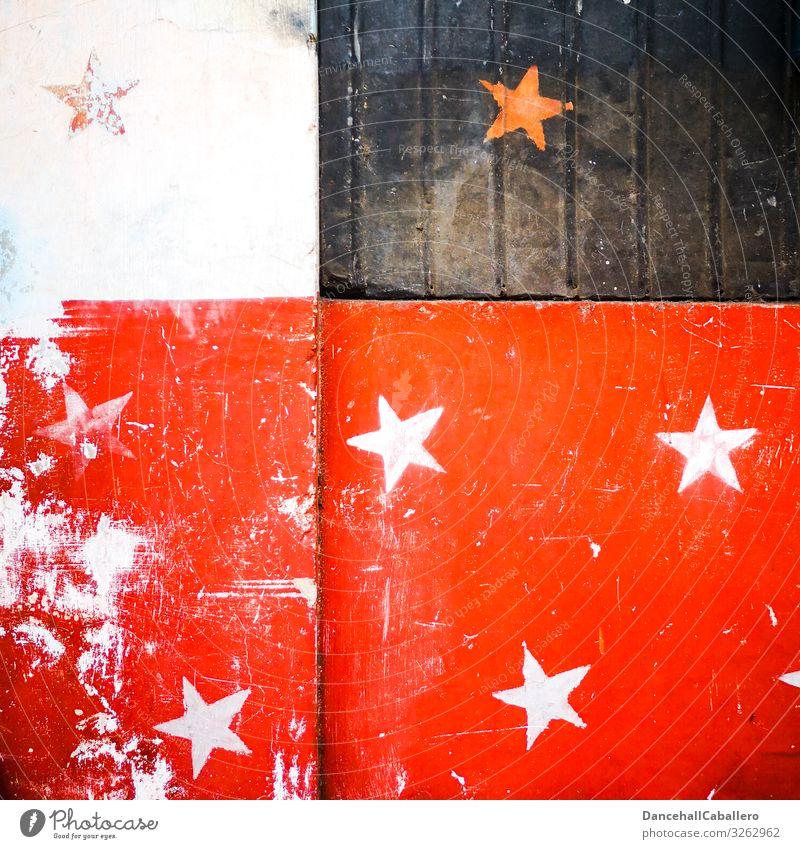 Anordnung der Sterne... alt Weihnachten & Advent weiß rot schwarz Graffiti Wand retro Fröhlichkeit Stern (Symbol) Zeichen graphisch Feiertag festlich