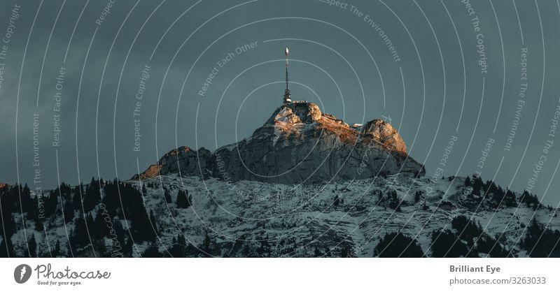 das letzte Sonnenlicht Ferien & Urlaub & Reisen Winter Schnee Natur Sonnenaufgang Sonnenuntergang Berge u. Gebirge Hoher Kasten Antenne ästhetisch Ferne hoch