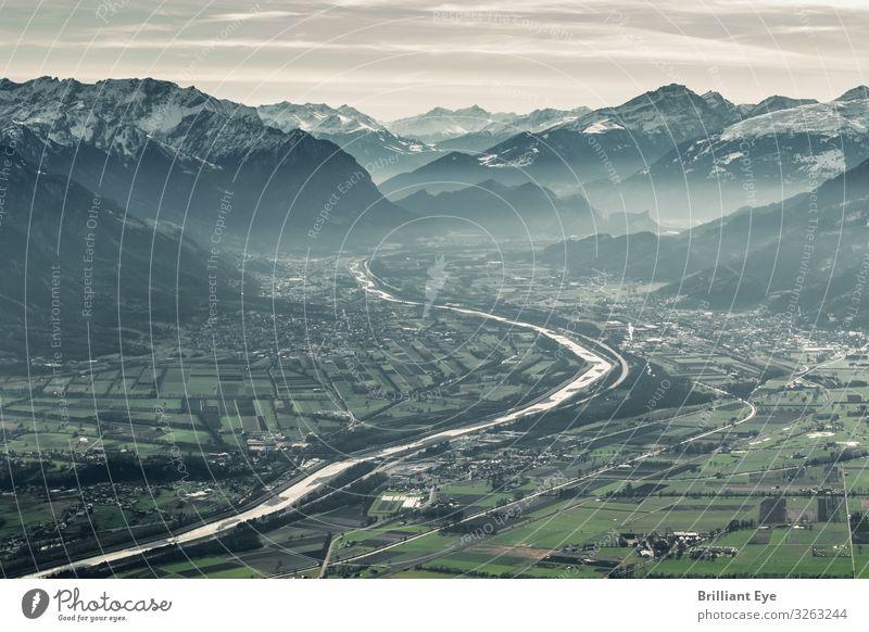 Drei Länder - Ein Fluss Ferien & Urlaub & Reisen Natur Landschaft Winter Ferne Berge u. Gebirge Nebel Feld Europa Idylle Alpen Schweiz Grenze Österreich Heimat