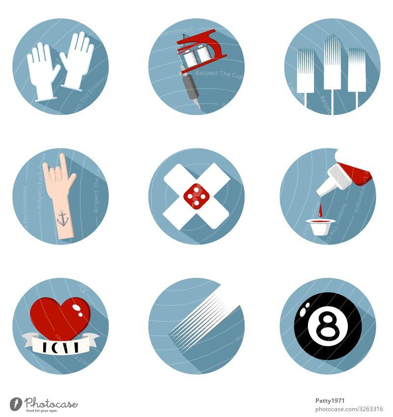 Tattoo Flat Design Icon Set Lifestyle Heftpflaster Handschuhe Tätowiermaschine Farbstoff Anker Herz Fahne Billardkugel Eight ball rund Sauberkeit blau rot