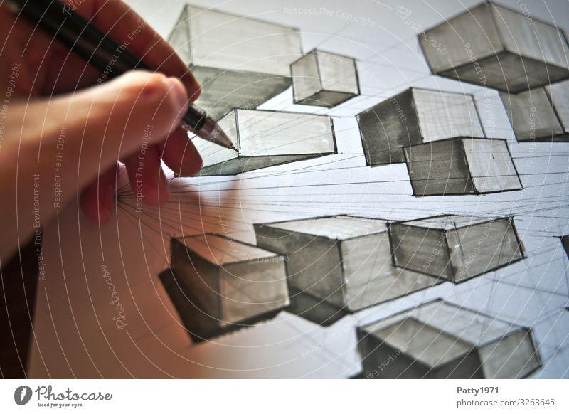 Two Point Perspective lernen Technik & Technologie Industrie Mensch Hand Finger 1 Kunst Künstler Maler Zeichnung zeichnen Bewegung kompetent komplex Perspektive