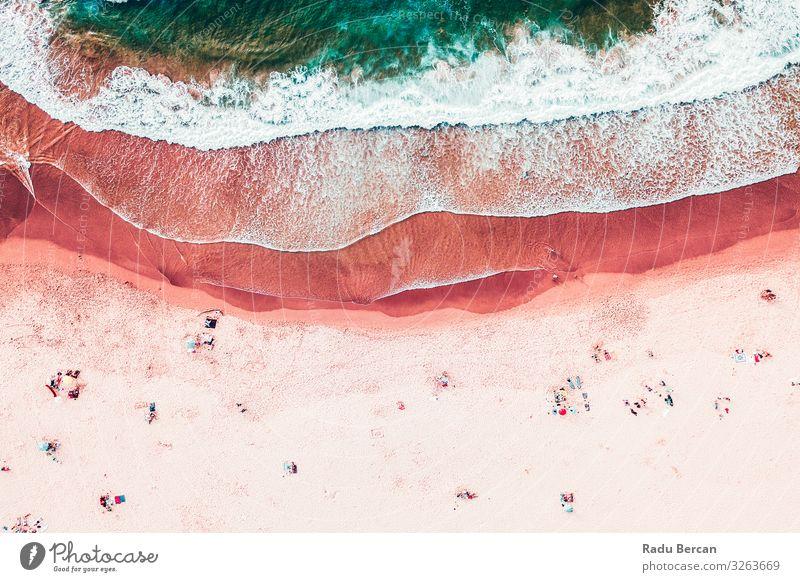 Menschenmenge am Strand, Luftaufnahme im Sommer Schwimmen & Baden Umwelt Natur Landschaft Sand Wasser Schönes Wetter Wärme Wellen Küste Meer