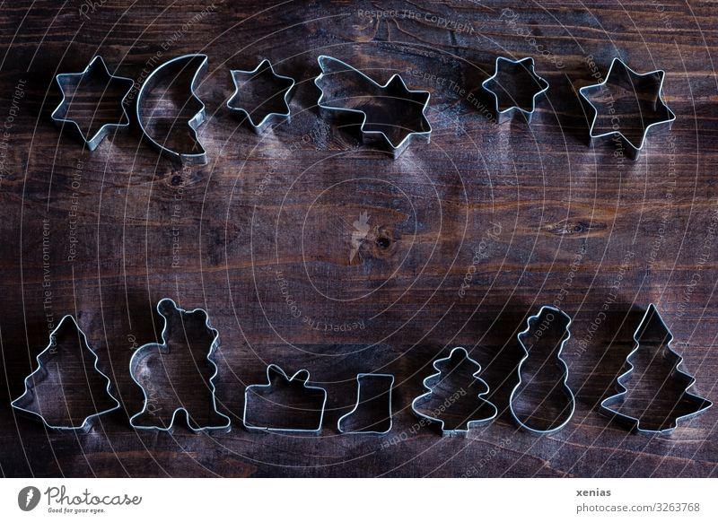 Frohes Backen Weihnachten & Advent Winter Lifestyle Holz braun Dekoration & Verzierung Metall Geschenk Stern Backwaren Weihnachtsbaum Bild Weihnachtsmann Mond