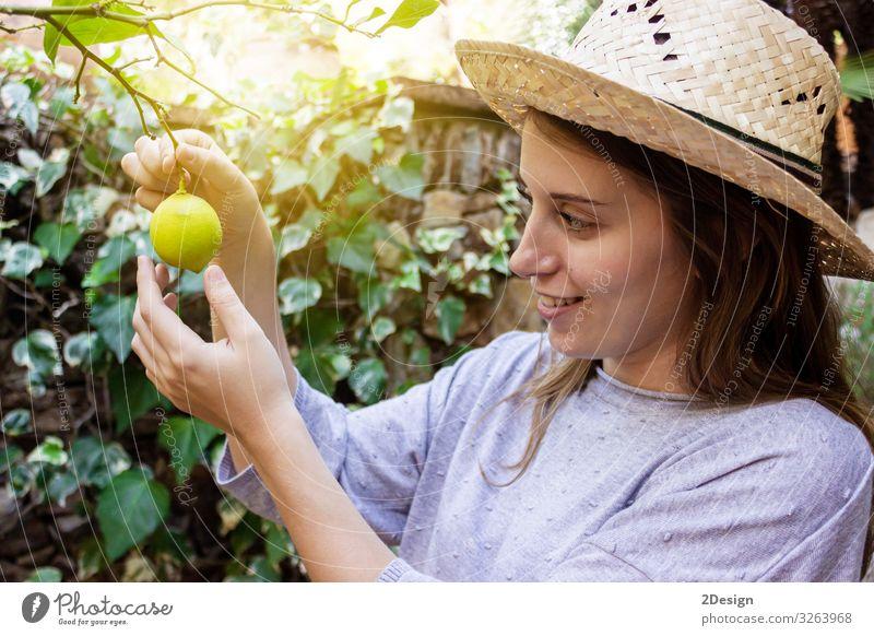 Junge glückliche Frau mit Hut bei der Arbeit im Garten Kaukasier Lifestyle 1 im Freien Pflanze Gartenarbeit Person Sommer jung Menschen Natur Glück Erwachsener