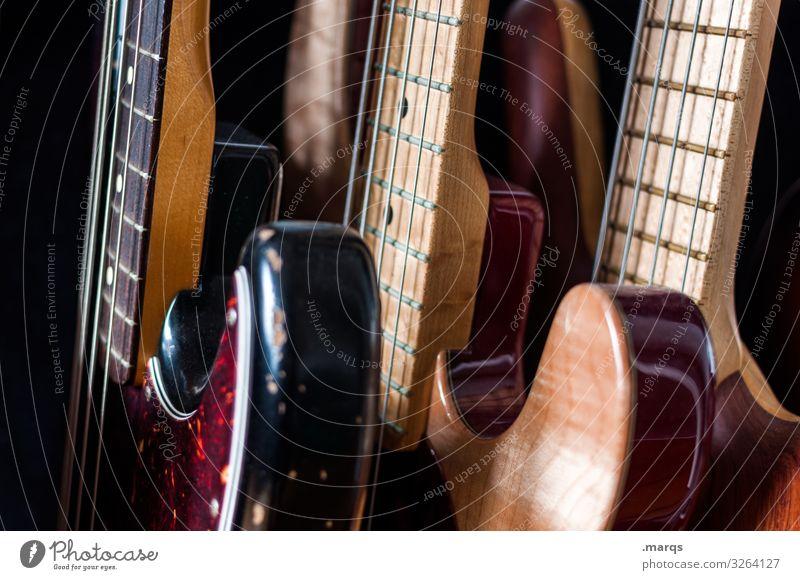 Gitarrensammlung Musik Musiker Instrument elektrisch musizieren Musikinstrument Egitarre E-Gitarre Sammlung Nahaufnahme Rockmusik Bassgitarre