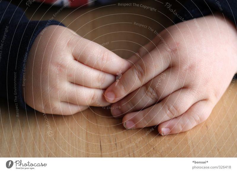 schüchtern Mensch Kind Kleinkind Junge Hand Finger 1 1-3 Jahre berühren festhalten frisch klein Zufriedenheit Erholung Kindheit Scham unschuldig Fingernägel