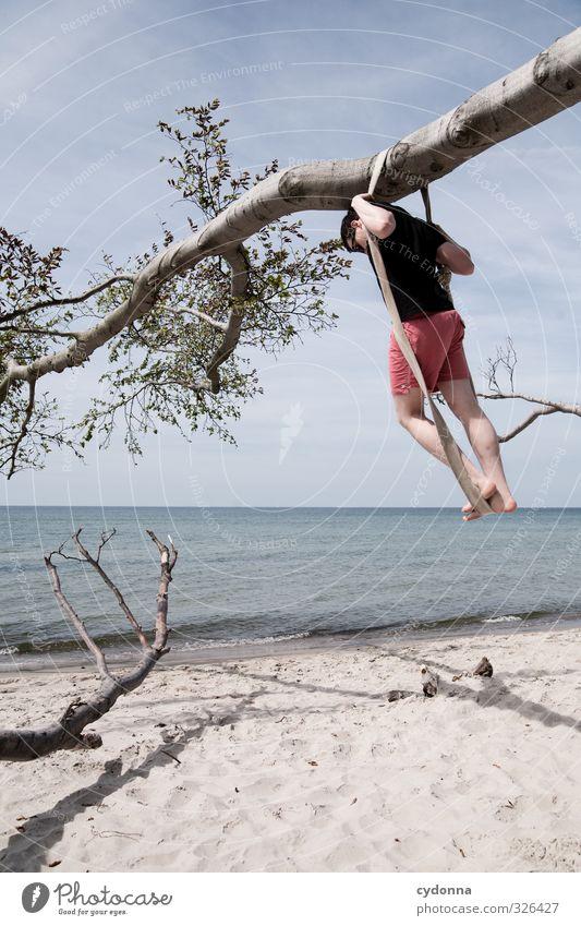 Horizontlinie Lifestyle Gesundheit Leben Wohlgefühl Erholung ruhig Ferien & Urlaub & Reisen Abenteuer Ferne Freiheit Sommerurlaub Mensch Junger Mann Jugendliche