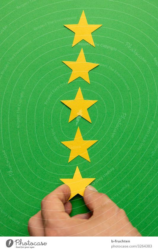 Five Stars Arbeitsplatz Wirtschaft Werbebranche Börse Business Finger Zeichen wählen festhalten gelb grün bewerten Beschluss u. Urteil Stern (Symbol) Kategorie