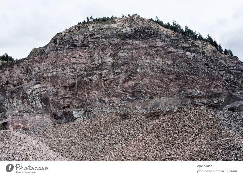 Klein machen Natur Landschaft ruhig Wald Umwelt Berge u. Gebirge Leben Stein Felsen Idylle ästhetisch Vergänglichkeit Wandel & Veränderung planen Baustelle Güterverkehr & Logistik