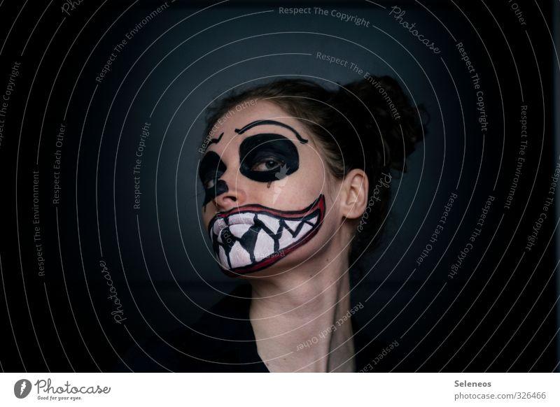 666 l muhaha Mensch Gesicht Auge Haare & Frisuren Kopf Angst Mund Zähne Ohr Lippen Maske gruselig Karneval Schminke Halloween bemalt