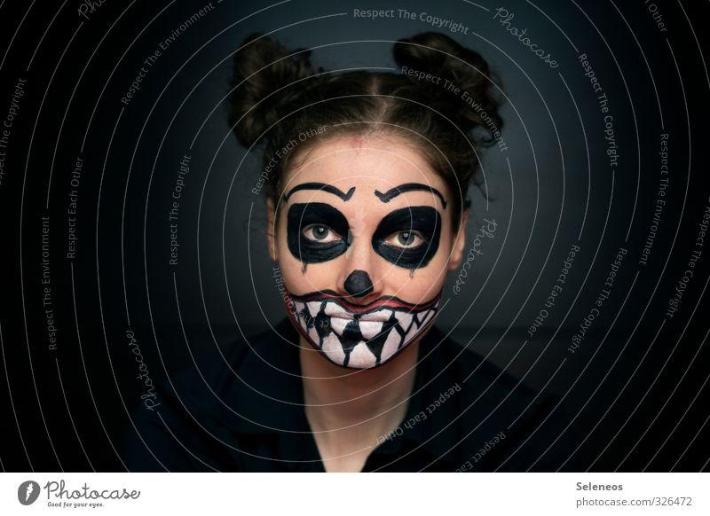 Montagsmonster Mensch Frau Jugendliche 18-30 Jahre dunkel Erwachsene Gesicht Auge feminin Haare & Frisuren Mund Nase fantastisch Zähne Lippen Ohr