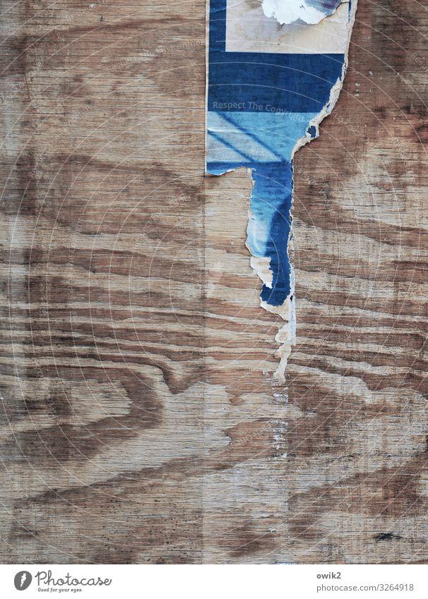 Häuserschlucht Plakatwand Rest Papier Papierfetzen Holzmaserung alt Verfall Vergänglichkeit Zerstörung Farbfoto Außenaufnahme abstrakt Strukturen & Formen
