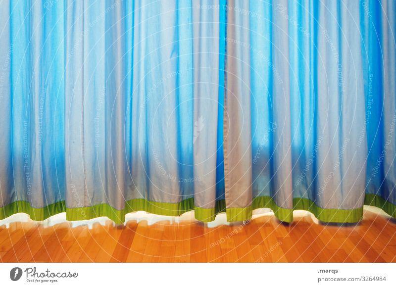 Verhüllt Gardine Vorhang blau Parkett hängen Faltenwurf Sichtschutz verdecken verhüllen Strukturen & Formen Häusliches Leben