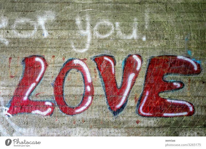 Love for you Mauer Wand Stein Schriftzeichen Graffiti schreiben blau rot weiß Liebe Verbote Zement Farbfoto Außenaufnahme Menschenleer Textfreiraum unten