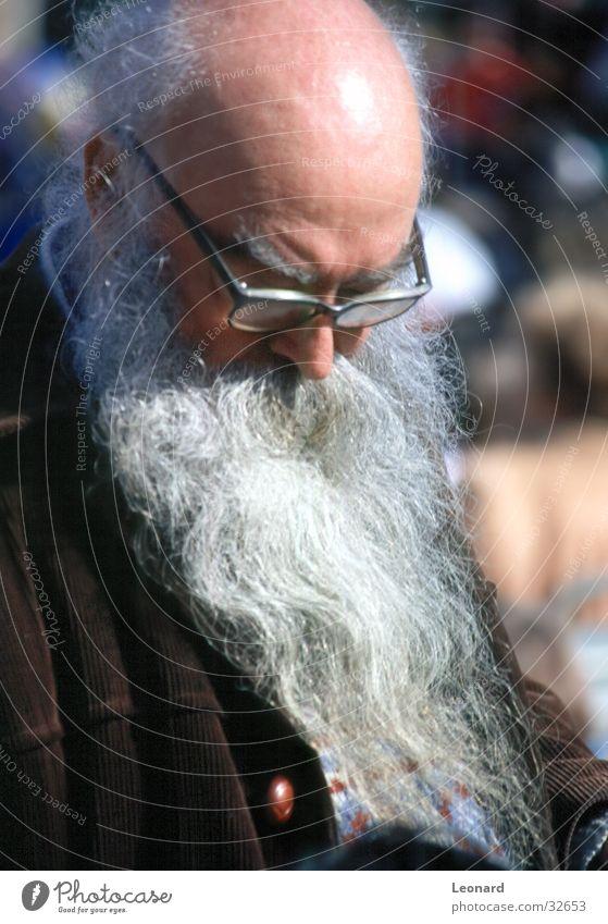 alter Mann Sonne Kopf Glas Bart Glatze Haare & Frisuren