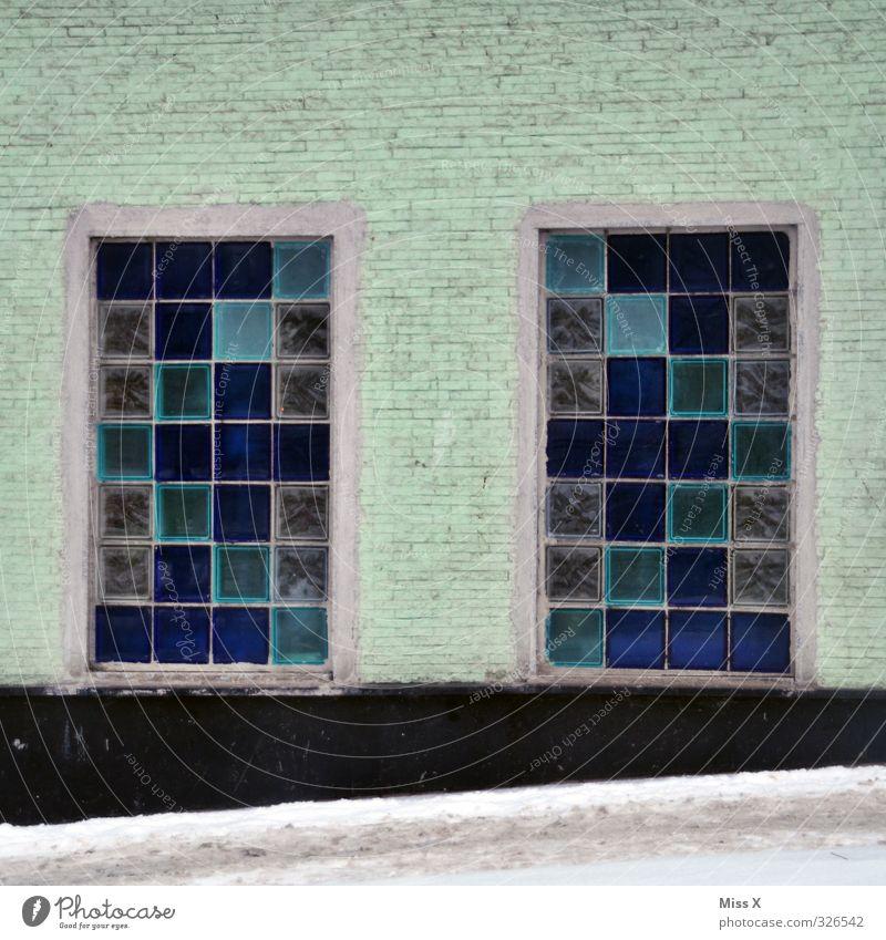 Fenster V blau Wohnung Häusliches Leben Fensterscheibe Glasbaustein