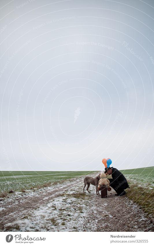 Geheimdienst.... Mensch Mann Erwachsene Leben Winter Eis Frost Feld Wege & Pfade Hut Hund 1 Tier Beratung sprechen elegant Vertrauen Geborgenheit Sympathie