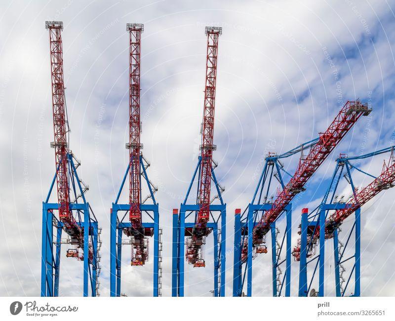 quay cranes Güterverkehr & Logistik Hafenstadt Verkehr hoch kaikran ladekran Kran Containerterminal Hamburger Hafen seehafen deutschland industriehafen