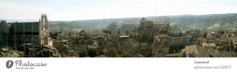 Orvieto Panorama (Aussicht) Kuppeldach Gebäude Sonne Baum Stadt Italien Europa Religion & Glaube Dom Himmel groß Panorama (Bildformat)