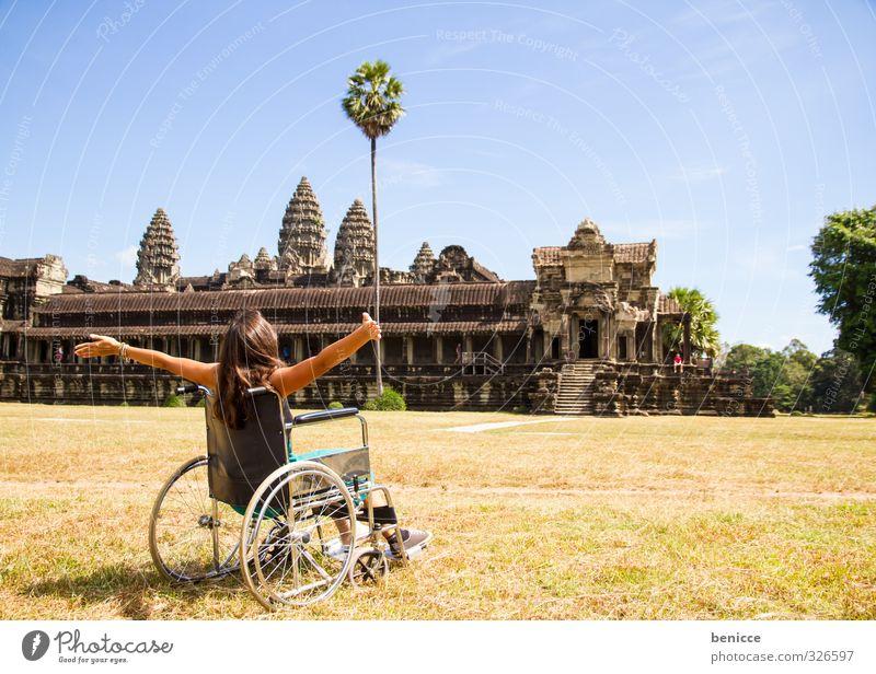 Rollstuhltrip Mensch Frau Ferien & Urlaub & Reisen Freude Reisefotografie Glück frei Asien Denkmal Sightseeing Behinderte Tempel monumental Angkor Wat