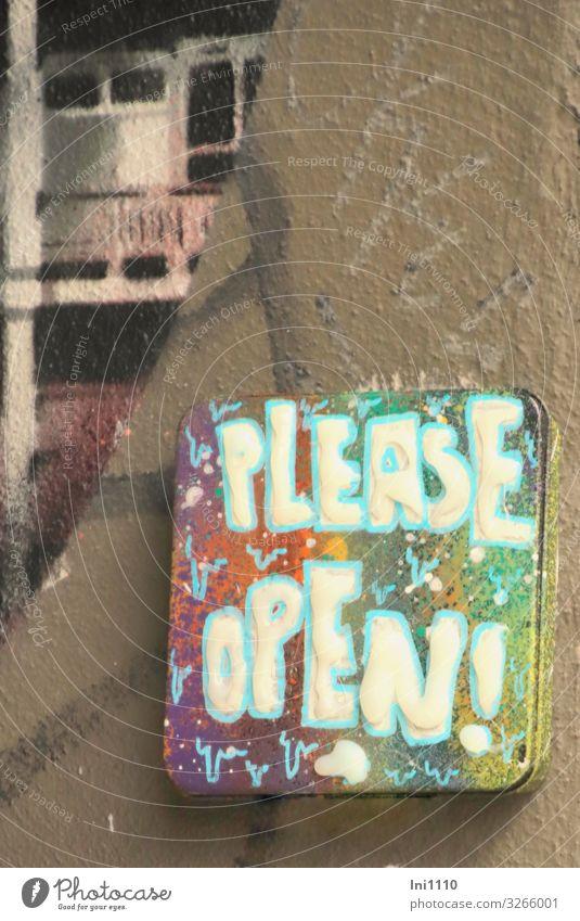 Please open! | UT Hamburg Hafenstadt Haus Mauer Wand Fassade Tür Namensschild braun grau grün violett rosa türkis weiß Klingel Hinweisschild Gängeviertel