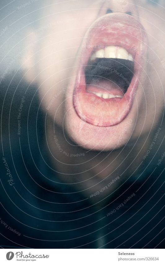 Lass raus Mensch Gesicht Gefühle lustig Kopf Stimmung Haut Mund Zähne Lippen nah