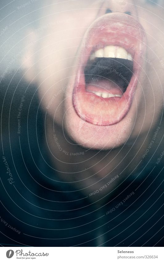 Lass raus Mensch Haut Kopf Gesicht Mund Lippen Zähne 1 nah Gefühle Stimmung lustig Farbfoto Innenaufnahme Porträt