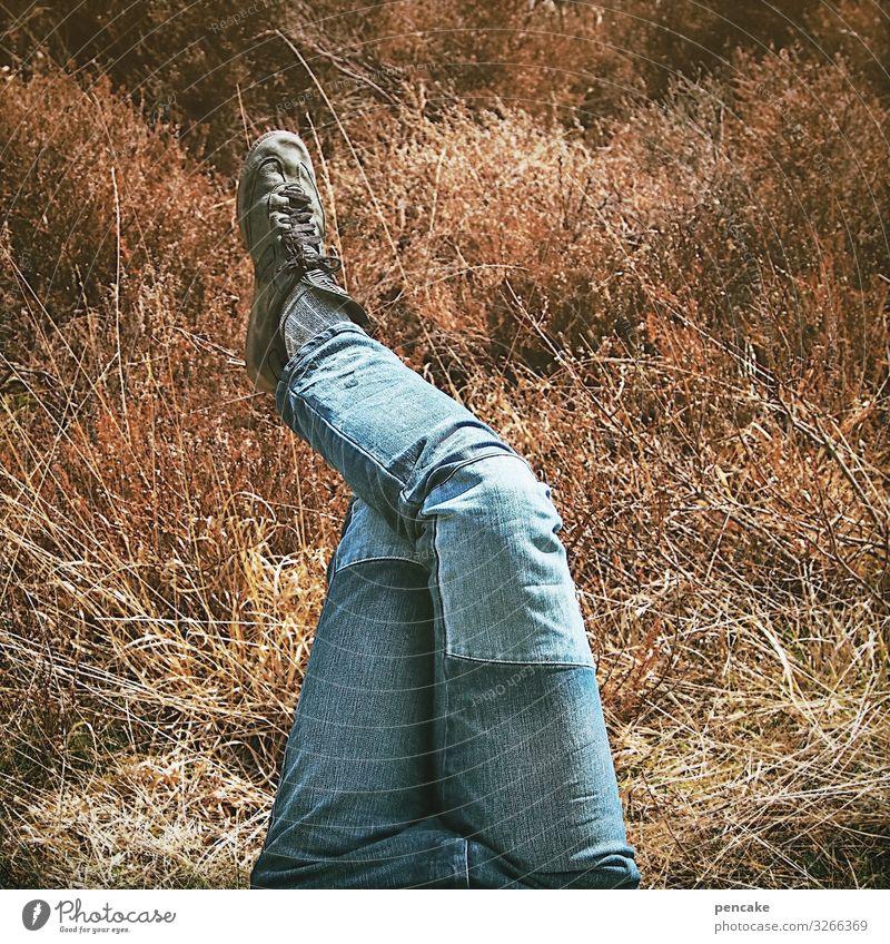 kleine pause Stil Wohlgefühl Zufriedenheit Erholung ruhig Freizeit & Hobby Beine Fuß 1 Mensch Landschaft Urelemente Erde Sand Frühling Gras genießen warten