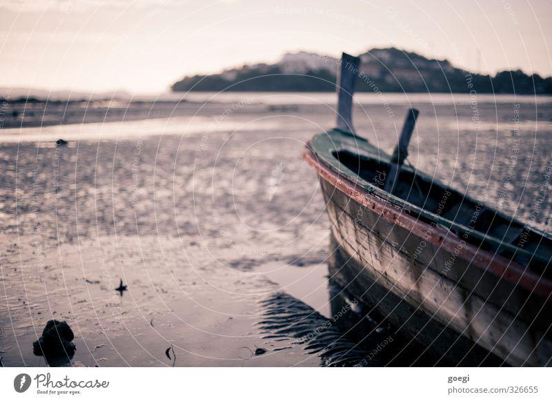Ebbe Sand Wasser Himmel Küste Strand Fischerboot Segelboot Ruderboot exotisch maritim nass Abenteuer Einsamkeit Horizont Idylle Ferien & Urlaub & Reisen