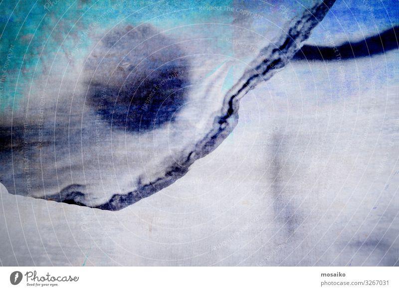Fragment (4) Natur blau ruhig Hintergrundbild Traurigkeit Stil Stein grau Stimmung Design Linie Eis träumen Nebel ästhetisch Kreativität