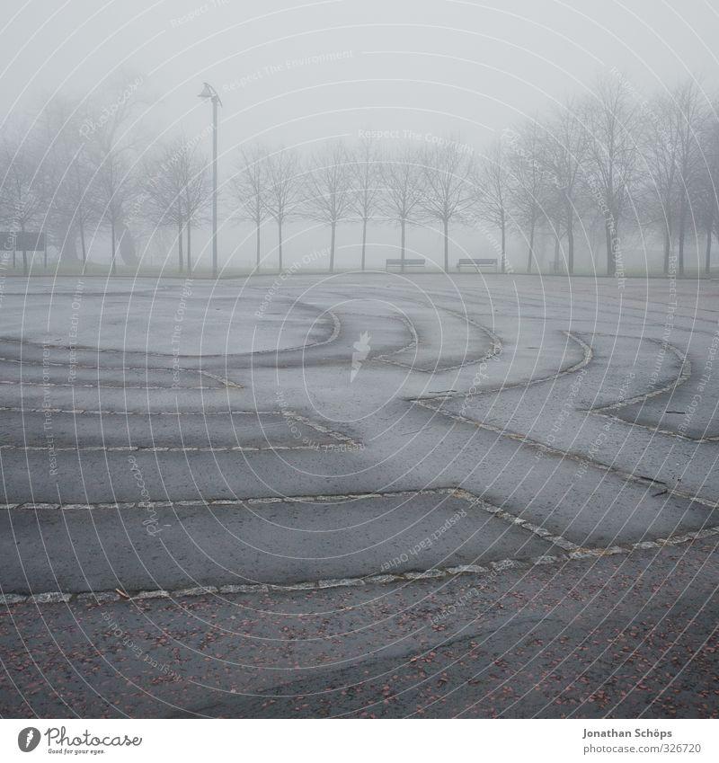 Glasgow fog IV Baum Winter dunkel kalt Wege & Pfade grau Park Nebel trist Hochhaus frei leer Platz ästhetisch historisch ausdruckslos