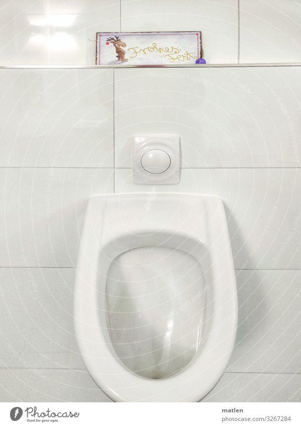 Frohes Fest Menschenleer Mauer Wand ästhetisch kalt blau gelb rot weiß Schilder & Markierungen Pissoir Toilette urinieren Rentier Farbfoto Innenaufnahme