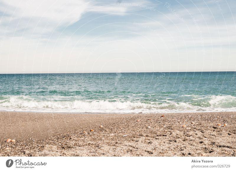 Meet the Ocean Natur Sand Wasser Himmel Wolken Horizont Sommer Schönes Wetter Wellen Küste Strand Meer Schwimmen & Baden berühren Erholung genießen nass blau