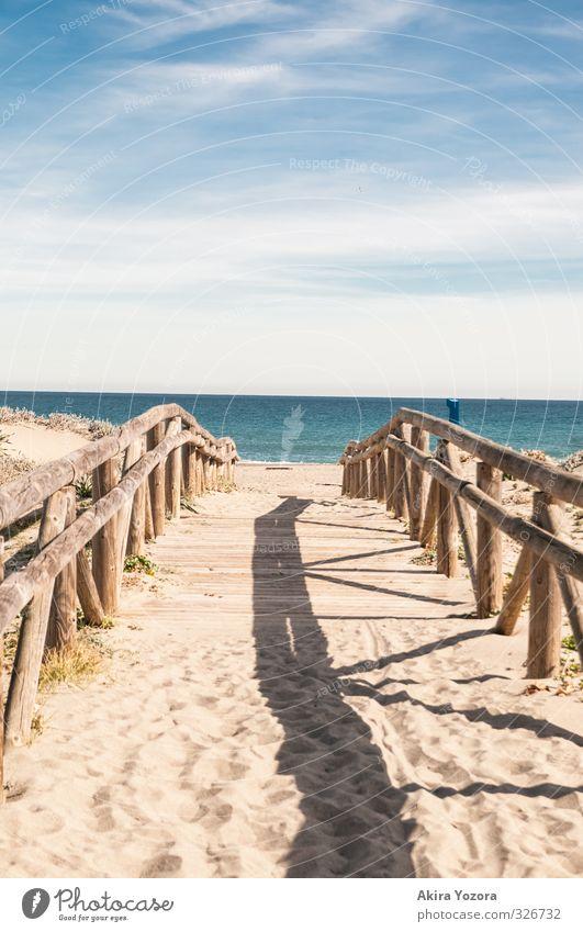 Zum Meer hin Himmel Natur Ferien & Urlaub & Reisen blau Wasser Sommer Meer Erholung Landschaft Wolken Strand gelb Wege & Pfade Küste Holz Schwimmen & Baden