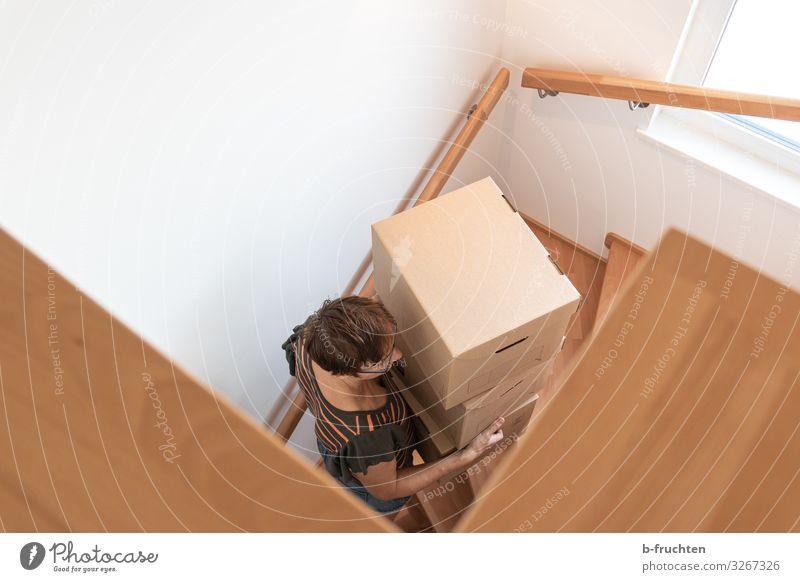Umzug Büro Frau Erwachsene 1 Mensch 30-45 Jahre Verpackung Paket Kasten Arbeit & Erwerbstätigkeit festhalten Treppe Karton Stapel gehen Umzug (Wohnungswechsel)